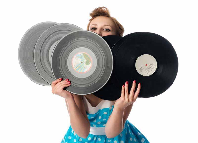 Schallplatten in Gebrauch